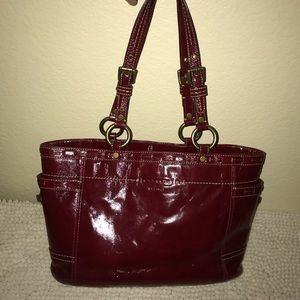 Coach Deep Red Patent Leather Satchel